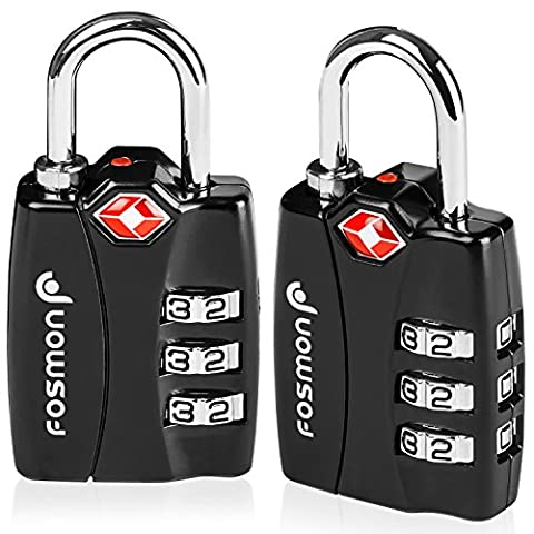 TSA Approved Luggage Locks, Fosmon (2 Pack) Open Alert Indicator 3 Digit Combination Padlock Codes Alloy Body for Travel Bag, Suit Case, Lockers, Gym, Bike Locks or
