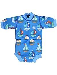 Splash About Happy Nappy - Traje de neopreno para niños, color Azul (Barcos), talla 12-24 meses/XL