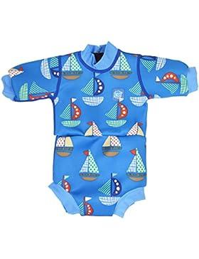 Splash About Happy Nappy - Traje de neopreno para niños, color Azul (Barcos), talla 6-14 meses/L