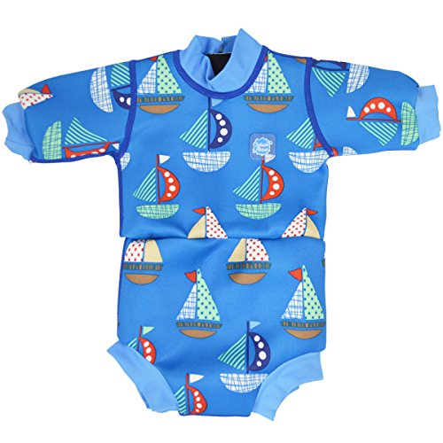 Splash About Happy Nappy - Tutina impermeabile da bambino, pannolino integrato, Blu (Set Sail), L