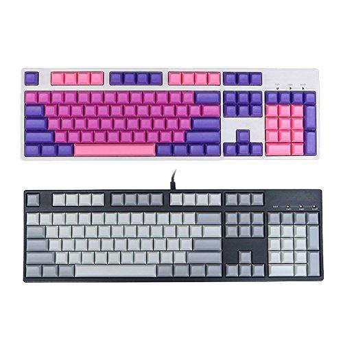 Faway 104 Key DSA Profile PBT Blank Keycaps Key Caps Set for Mechanical Keyboard-Grey White White Pudding