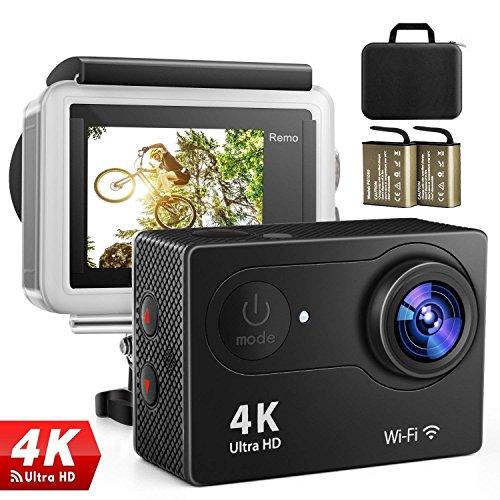 4K Action Kamera Sport Actioncam Wasserdicht - Helmkamera mit 2.4G Fernbedienung WiFi Ultra HD 12MP 170°Weitwinkel 2 Wieder Aufladbare 1050mAh Akkus 19 teiliges Zubehör Kit