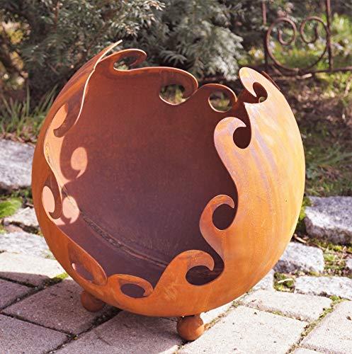 Edelrost Deko/Feuerkugel Ornament auf Standkugeln D30cm, inkl. Herz 8x6cm Gartendeko Pflanzgefäß