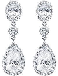 QUKE 925 Sterling Silver Silver Tone Luxury Cubic Zirconia Crystal Stud Earrings Women Jewellery aqpRP