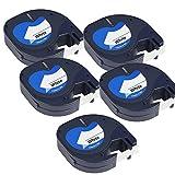5 x Kunststoff-Etiketten Dymo LetraTag 91201 S0721610 S0721660 schwarz auf weiß (12mm x 4m) kompatibel für DYMO LetraTag LT110T, LT100H, LT100T, QX50, XR, XM, 2000