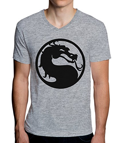 Mortal Kombat Classic Logo Design Men's V-Neck T-Shirt Medium -