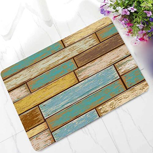 Holz Outdoor-teppich (Xmansky Schlicker saugfähige Matten,Retro Stil Rechteck Holz Stempel Rutschfester Teppich Boden Teppich Rutschfeste Fußmatte Outdoor Mat Küchenmatte 40cm x 60cm)