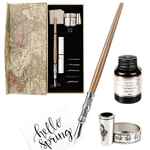 GCQUILL Kalligraphie Stift Tinte Set Vintage und Handgemachte Holz Schreibfeder mit einen Flasche Tinte Antike Dip Pen Perfekt für Anfänger Weihnachtsgeschenk in Geschenkbox