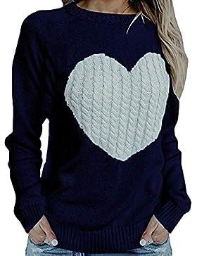 [Patrocinado]Suéter Mujer,ZARLLE Moda Oferta Liquidación Mujer Casual Solid Manga Larga Love Pullover Suéter Suelto Jumper...