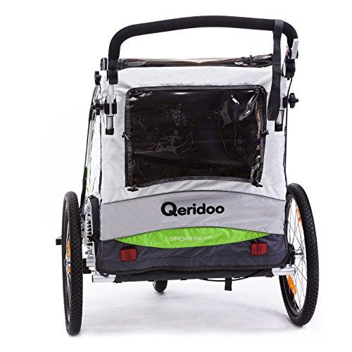 Qeridoo Sportrex 2 Deluxe (inkl. Sitzpolster) Kinder-Fahrradanhänger für 2 Kinder (mit einstellbarer Federung) – grün - 3