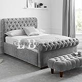 The Luxury Bed Co. Duke Chesterfield Bett mit Kopfteil und Fußteil, luxuriös und strapazierfähig, Leben, Schlafzimmer, Möbel, Malia Silver, King Size 137