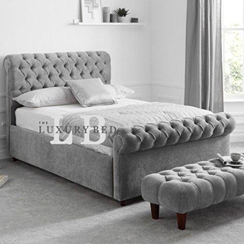 The Luxury Bed Co. Duke Chesterfield Bett mit Kopfteil und Fußteil, luxuriös und strapazierfähig, Leben, Schlafzimmer, Möbel, Malia Mustard, King Size 137