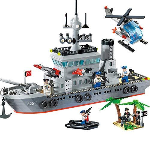 ELVVT 42 * 7 * 27 cm Marine Fregatte 614 stücke Baustein Kinder Und Erwachsene Geburtstag Weihnachten Sammlung DIY Geschenke Verschenken 7 Puppen 1 Hubschrauber 1 Patrouillenboot Und 2 Kokospalmen -