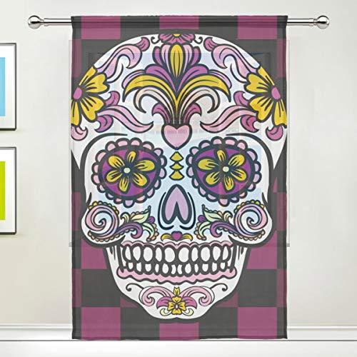 CPYang Vorhang aus mexikanischem Sugar Skull Plaid Voile Fenster Vorhang Vorhänge für Wohnzimmer Schlafzimmer Tür Küche 139,7 x 198 cm 1 Paneel, Textil, Multi, 55 x 84 inch - Vorhänge Küche Plaid