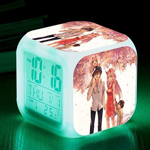 piaolinglifang store LED quadratischer Kleiner Wecker Sieben Farblichter mit Temperaturanzeigen-Weckfunktion Wecker-Animationsspiel-Peripheriewecker m001-1718 -