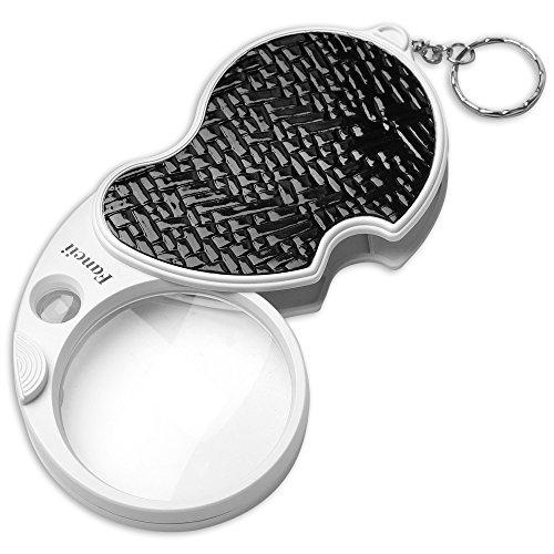 Fancii Kleine Taschenlupe mit LED Licht, 3x 15x Fach, 60 mm Durchmesser Mini Lupe für Lesen, Inspektion, Schmuck, Münzen und Briefmarken