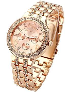 JSDDE Uhren,Klassisch unecht Chronograph Optik Unisex Armbanduhr Strassstein Design Edelstanl Analog Quarzuhr,...