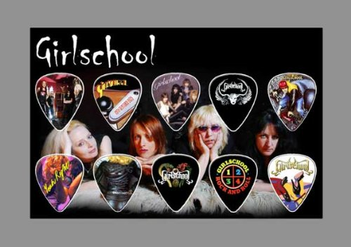 Girlschool Premium Celluloid Chitarra Pick Plettro Plettri Display A5 Sized