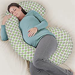 Rabitat Total Body Pregnancy Pillow with Jersey Cover - The Worlds Most Comfortable Maternity/Pregnancy cushion - With Zipper - Full Contoured Snuggle Support System. (Light Green)