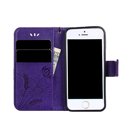 Horizontale Bookstyle Flip Case Premium PU Ledertasche, Solid Color Embossed Blumen Schutzbrieftasche Case Cover mit Lanyard & Stand für iPone 5 & 5s & SE ( Color : Modena ) Modena