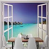 Fototapete Strand Fenster 183 x 127 cm Moderne Wanddeko Design Tapete Wohnzimmer Schlafzimmer Büro Flur Dekoration Wandbilder,Vlies