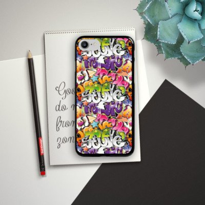 Apple iPhone X Silikon Hülle Case Schutzhülle Graffiti Style Schrift Hard Case schwarz