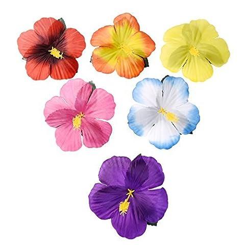 Sumind 72 Stücke Hibiskus Blumen Hawaii Blumen Künstliche Blumen für DIY Dekoration, 6 Farben (Glückliche Blumen-halskette)