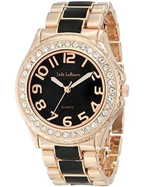 Damen Armbanduhr Rose Gold und Schwarz Zwei Ton Epoxidharz große einfache lesen Jade LeBaum JB202745G