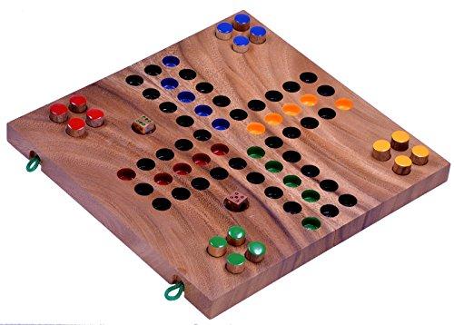 Ludo Gr. L - Würfelspiel - Gesellschaftsspiel - Familienspiel aus Holz mit klappbarem Spielbrett