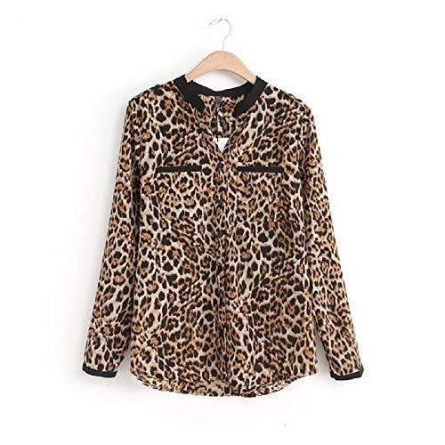UJUNAOR Damen Leoparden-Drucken-Hemd Langärmliges Oberteil Casual Sweater Top Jacke(B,CN M)