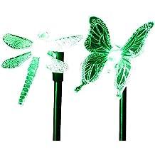 cisting Solar (2 unidades), diseño de libélula mariposa de color cambiante LED Solar