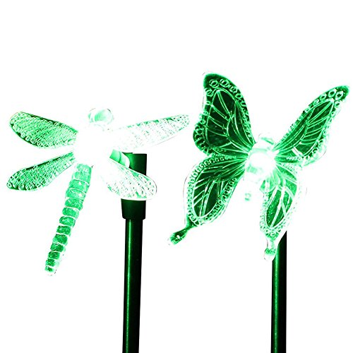 cisting Solar (2unidades), diseño de libélula mariposa de color cambiante LED Solar Jardín Camino Juego Luces Lámparas para césped Yard exterior cis-57254b
