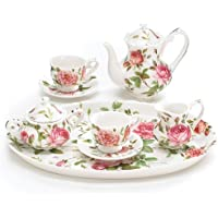 Mini Saddlebrooke Tea Set Flowers Porcelain Teacup Teapot Saucers Tray Pink Roses Sugar Creamer