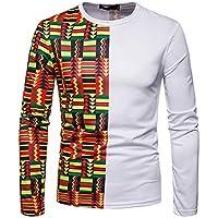 Yvelands Ofertas de liquidación Otoño Moda Casual O-Cuello Africano Indio Estilo Étnico Imprimir Slim Fit T-Shirts Manga Larga Pullover Top Blusa ¡