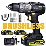 Perceuse sans Fil 18V, TECCPO 60Nm Brushless Perceuse a Percussion, 2 Batteries 2.0Ah, 29pcs d accessoires Gratuits, 30min Chargeur, 13mm Mandrin Auto-bloquant-TDHD02P