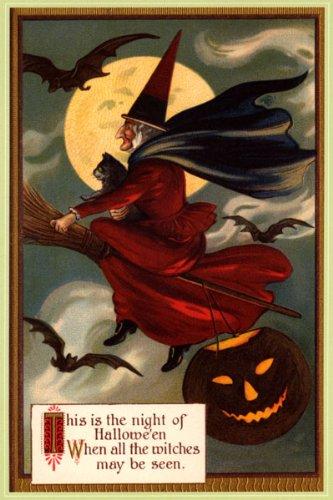 n Mond Halloween schwarze Katze Kürbis Vintage Poster Repro (Halloween Schwarze Katze Vintage)
