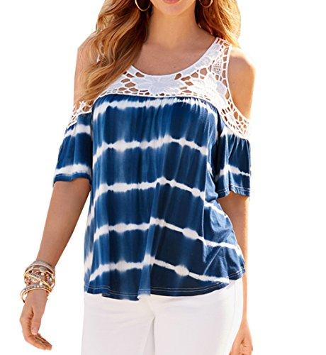 women-cold-shoulder-splicing-short-sleeve-lace-loose-blouse-tops-shirt-uk-12