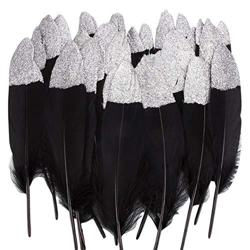 Vidillo Bunte Federn, 40 Stück Gold/Silber getauchtes natürliches rot/Schwarz Gänsefedern, ideal als Dekoration zum Karnival für Halloween Fest Masken, Kostüme und Basteln für Kinder (Feathers D)