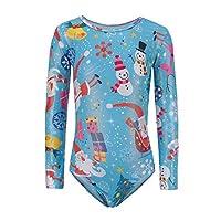 Hongyuangl Long Sleeve Leotards Christmas Santa Claus Printing Girls Gymnastics Leotards,Blue