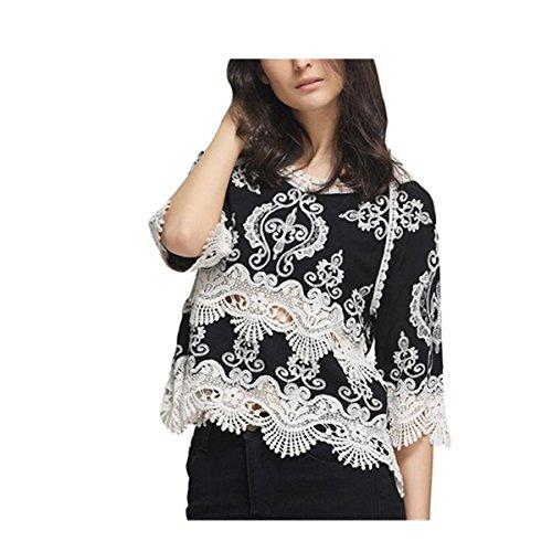 Reversible Seide Hosen (VENMO Mode Frauen Spitze Patchwork Harf Hülse Bluse Beiläufige Spitzen T Shirt Strand-Kittel (L, Black))