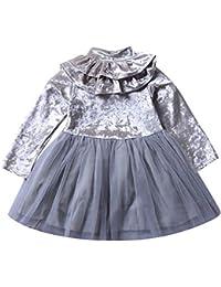 LEvifun Vestito Bambina Modelli Bello Toddler Kids Neonate Maniche Lunghe  Ruffles Solido per Tutu Vestito da f0966d0075e