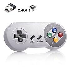 iNNEXT 2.4G Wireless Controller Chargeable Classic SNES USB Gamepad Joystick mit USB-Empfänger / Ladekabel für Spiele, Unterstützung PC Windows Mac und Retropie Gamepad NES/SNES Emulator