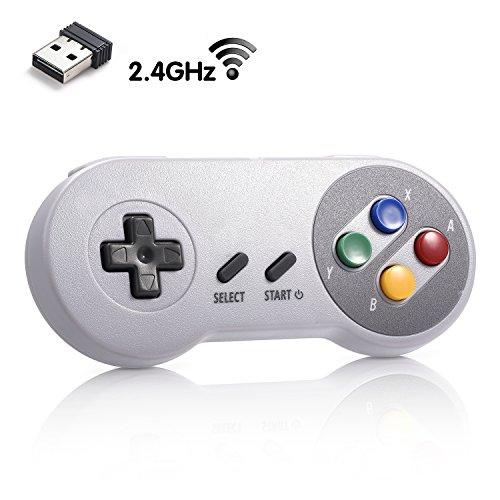 iNNEXT 2.4G Wireless Controller Chargeable Classic SNES USB Gamepad Joystick mit USB-Empfänger / Ladekabel für Nintendo-Spiele, Unterstützung PC Windows Mac und Retropie Gamepad NES/SNES Emulator