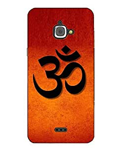 Snazzy Religion Printed Orange Hard Back Cover For InFocus M350