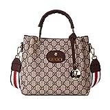 Ldyia Frauen gedruckt Mutter Tasche Breiten Schultergurt GD-Druck Handtasche Mehrzweckhandtasche, geeignet zum Einkaufen, Party, Arbeit, braun