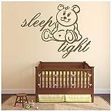azutura Schlaf gut Wandtattoo Kindergarten Zitate Wand Sticker Teddybär Wohnkultur verfügbar in 5 Größen und 25 Farben X-Groß Weiß