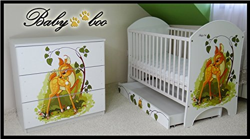 5 PCS BABY NURSERY FURNITURE SET - COT + MATTRESS + WARDROBE + CHEST OF DRAWERS + TOY BOX (model 15)  Included: cot + mattress + wardrobe + chest of drawers + toy box Material: wood GREAT QUALITY 2
