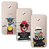 [3 Pack]Coque Asus Zenfone 4 Selfie ZD553KL 5.5'', EUGO Transparente Silicone Gel TPU Souple Anti Choc Housse Etui de Protection Bumper Premium, Motif-02