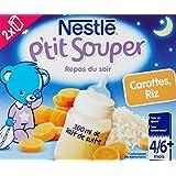 Nestlé Bébé P'tit Souper Repas du soir Lait Carottes Riz dès 4/6 mois 2 x 250 ml - Lot de 6 (12 briques)