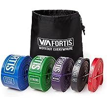 Banda Elástica de Resistencia de VIA FORTIS | Cuerda de Fuerza para Fitness, Crossfit, Pilates, Estiramientos| Incluye Bolsa de Transporte | 5 Niveles de Resistencia Diferentes (3 - MEDIUM (Morado))